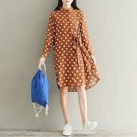 Plus Size S 5XL ZANZEA Women Polka Dot Buttons Down Long Tops Blusas Vintage Turn Down