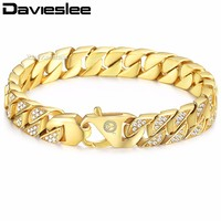 Davieslee Mens Bracelet Chain Miami Curb Cuban Link Stainless Steel Hip Hop Iced Out Gold Color