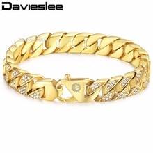 Davieslee mens pulsera de cadena Miami curb cubano enlace Acero inoxidable hip hop iced out oro-color 12mm LHB476