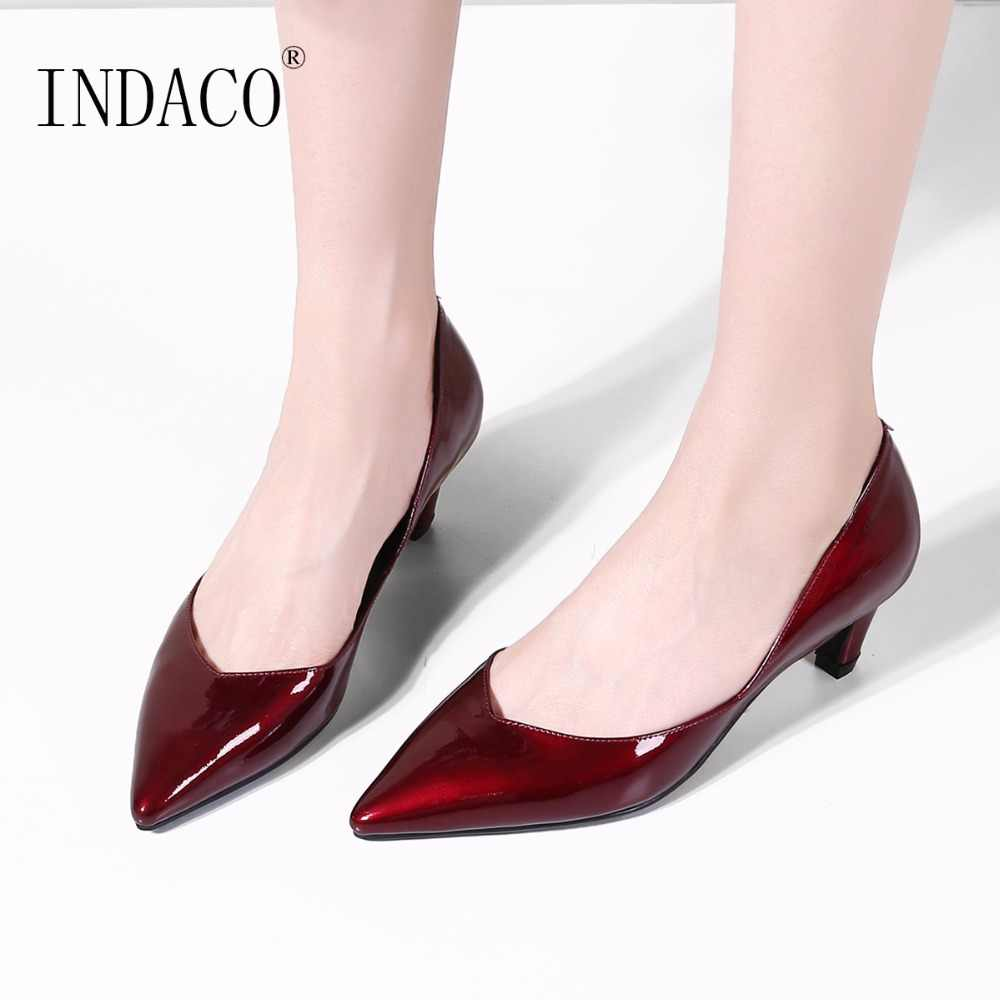 63d67338f3 Burgundy Wedding Shoes Pumps Women Shoes Low Heel Pumps Big Size 34-43  Pointed Toe