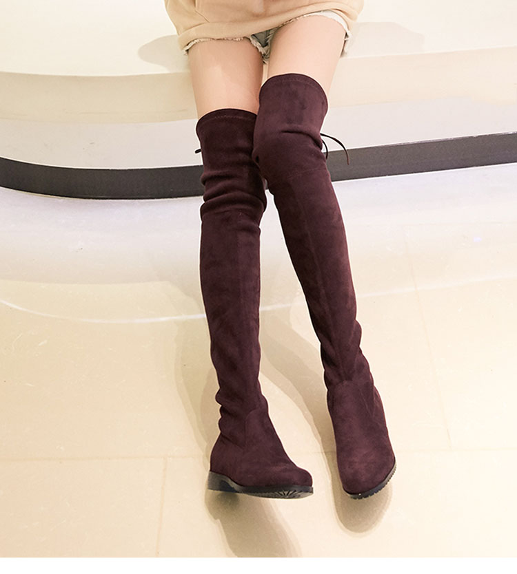 ff3f4fec89e black overknee boots flat heels slip-on long boots for women round toe  stretchable bota over the knee solid woman shoes PH010