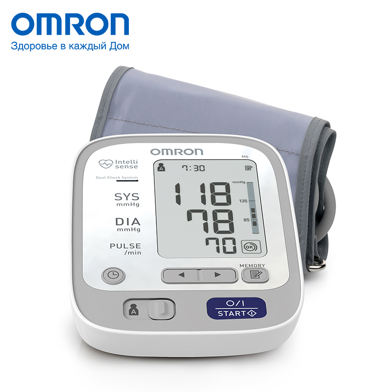 Omron M6 (HEM-7213-ARU) Blood pressure monitor Home Health care Monitor Heart beat meter machine Tonometer Automatic Digital omron mit elite plus hem 7301 itke7 blood pressure monitor home health care heart beat meter machine tonometer automatic digital