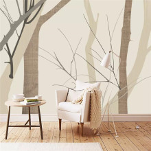 Modern minimalist aspen wood background wall professional production mural wholesale wallpaper custom photo