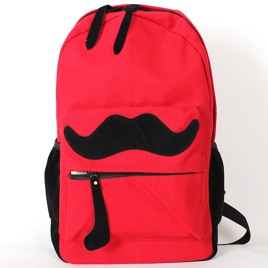 Backpack Red Mustache, Backpack, urban backpack, sports, women's backpack, gift, Omo-503 double zipper canvas backpack