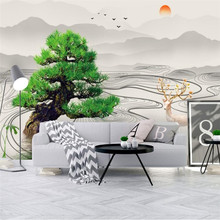 Modern minimalist new Chinese abstract artistic concept ink landscape ancient tree wall professional production wallpaper mural