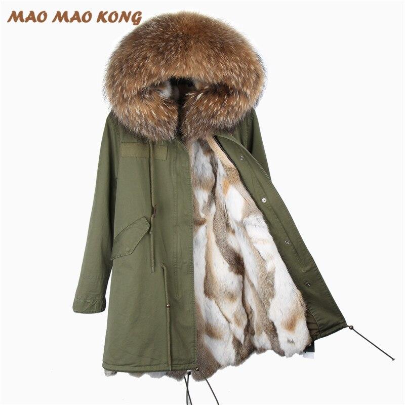 2017new moda donna parka giacca invernale lungo lussuoso raccoon collo di pelliccia con cappuccio cappotto con spessore real rex rabbit fur fodera