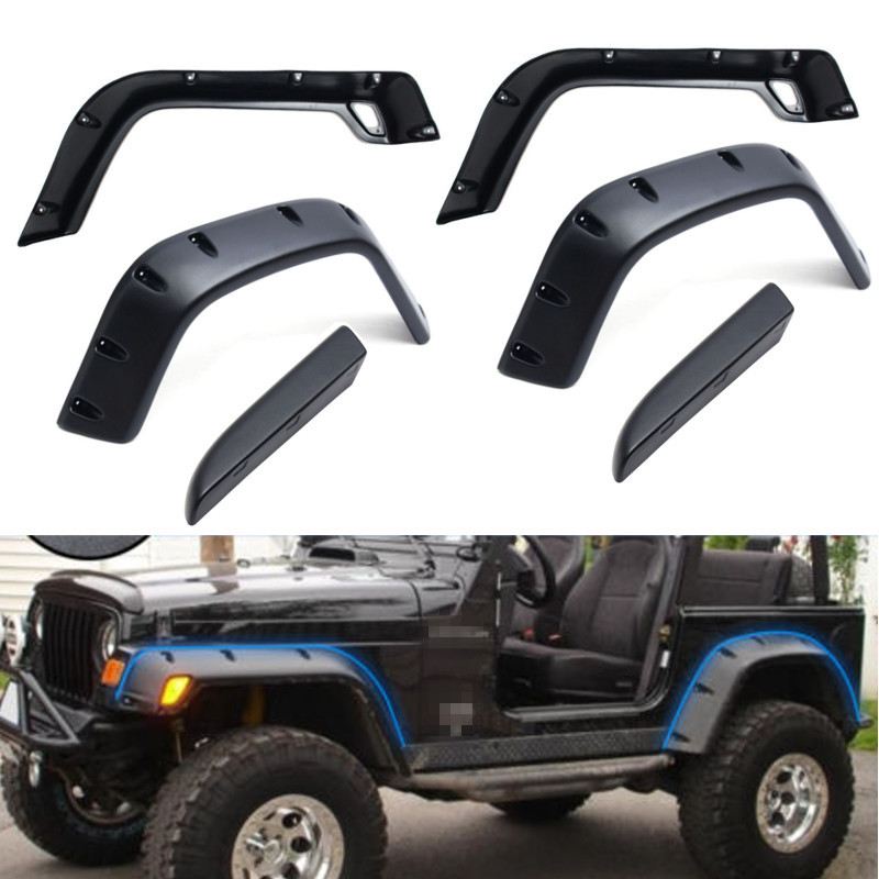 6pcs/Set For Jeep 98-06 For Wrangler TJ 7 Wide Style Protector For Fender Flares