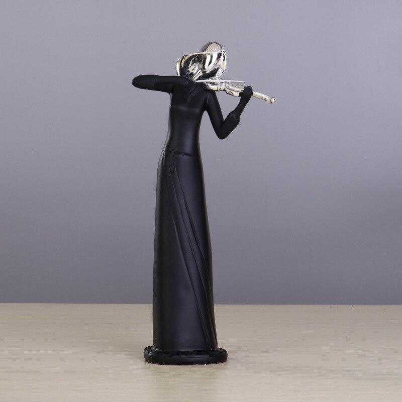 Résine noire argent tête saxo guitare sculpture concert artisanat cadeaux ornements - 3