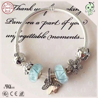 Beautiful Silver Butterfly Pendant Charm And Light Blue Silver Murano Charms 925 Sterling Silver Bracelet With Bowknot Clasp
