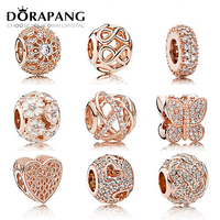 DORAPANG S925 Sterling Silver Rose Clear CZ Charm Beads Collocation Bracelet DIY Bracelet Beads For Jewelry