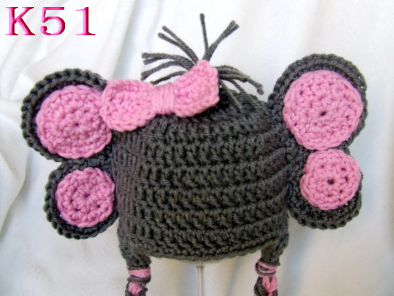 Cute Costumes Baby Clothing Photography Props Elephant Handmade Crochet Hats Unisex Toddler Beanie Caps