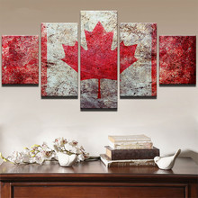 Paintings Wall Art HD Prints Oil Home Decor Living Room 5 Piece Sports Maple Leaf Flag Modular Pictures On Canvas Framework