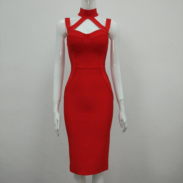 Summer Women Bodycon Vestido Bandage Dress White Black Blue Red Sexy Halter Choker Neck Backless Club Wear Celebrity Party Dress