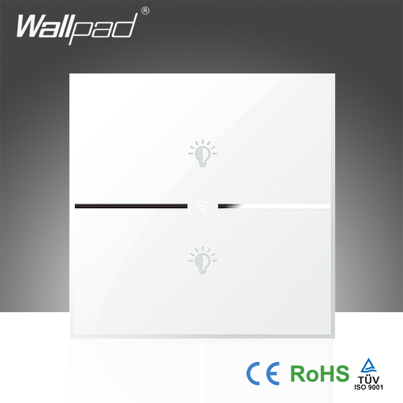 Best Quality Wallpad White Glass 110~250V LED UK 2 Gang Phone Wifi Wireless Electrical Controlled Light Switch, Free Shipping
