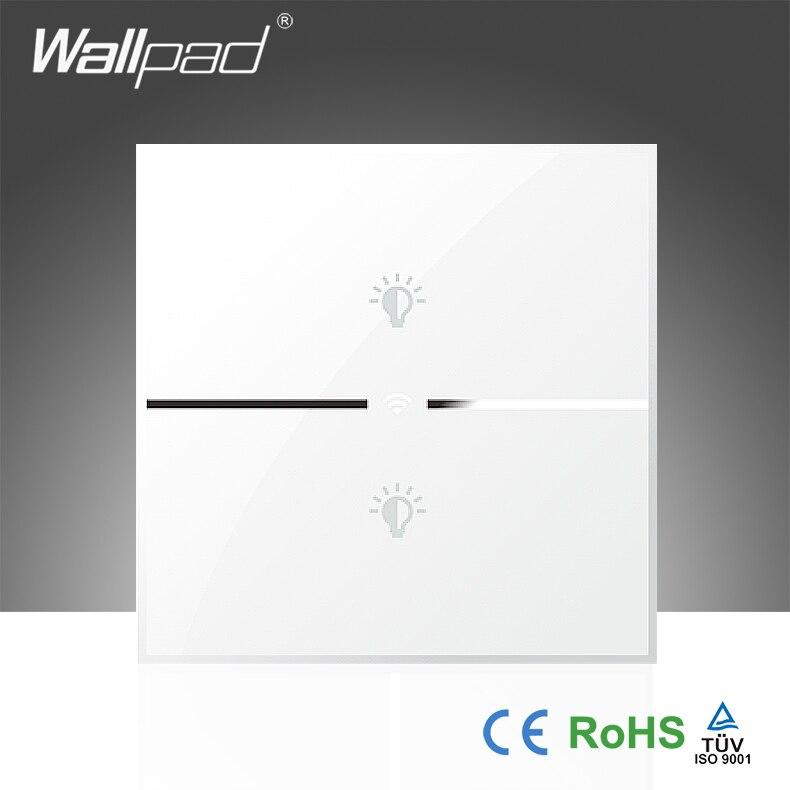 82e58465882 Mejor calidad wallpad cristal blanco 110 ~ 250 V LED UK 2 Gang teléfono  WiFi control eléctrico interruptor de la luz, envío libre