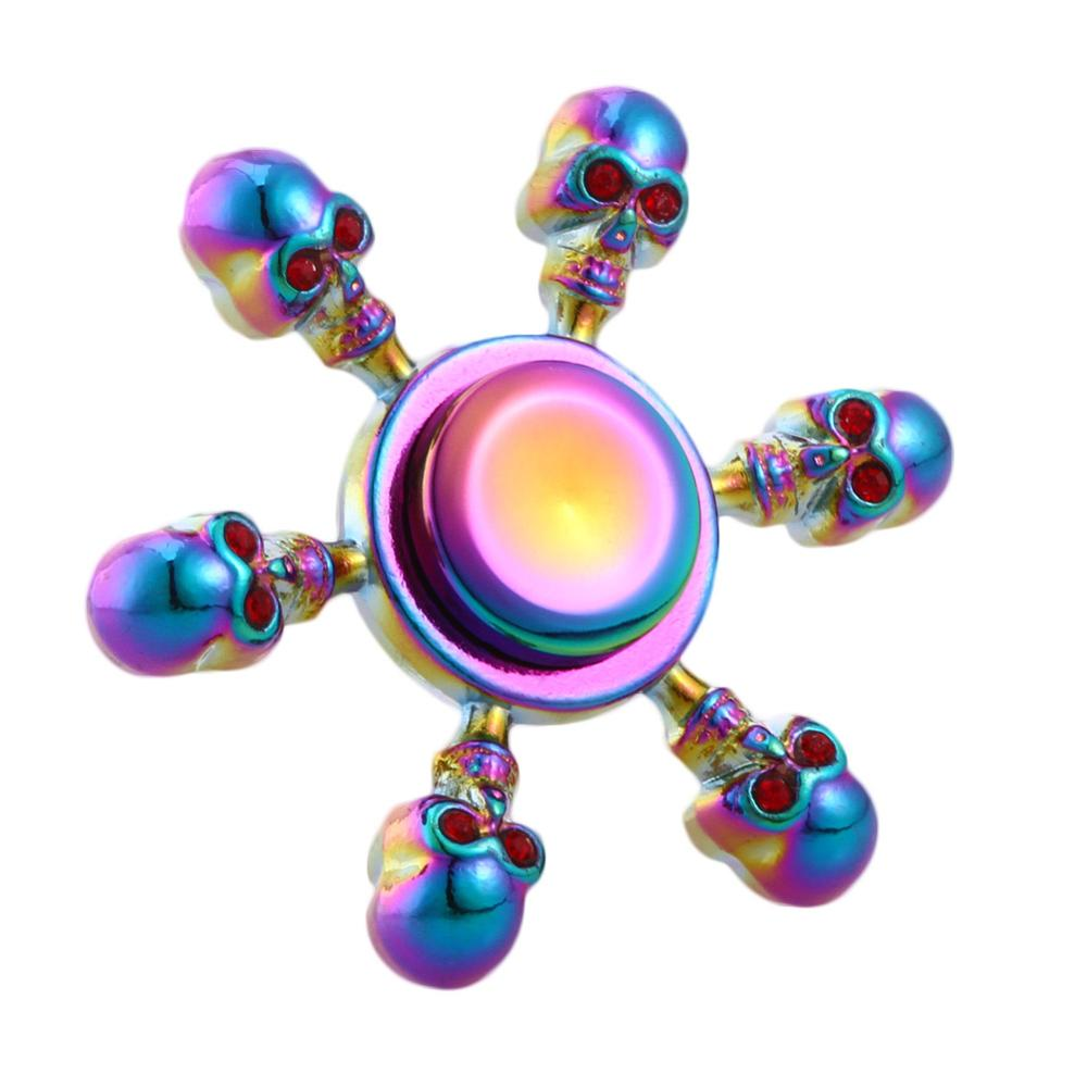 2017 Rainbow Color Skull EDC Detachable Spinner TriangleFinger Spinner Metal ADHD Autism Focus Finger Fidget Toys