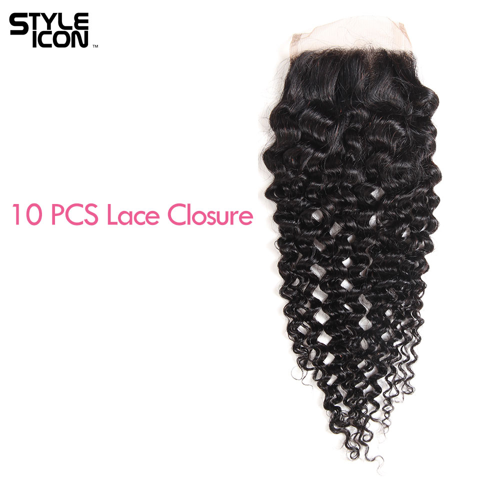 Styleicon Wholesale Lace Closure 10Pc Brazilian Kinky Curly Lace Closure 4X4 Swiss Lace 130% Medium Brwon Closure With Baby Hair