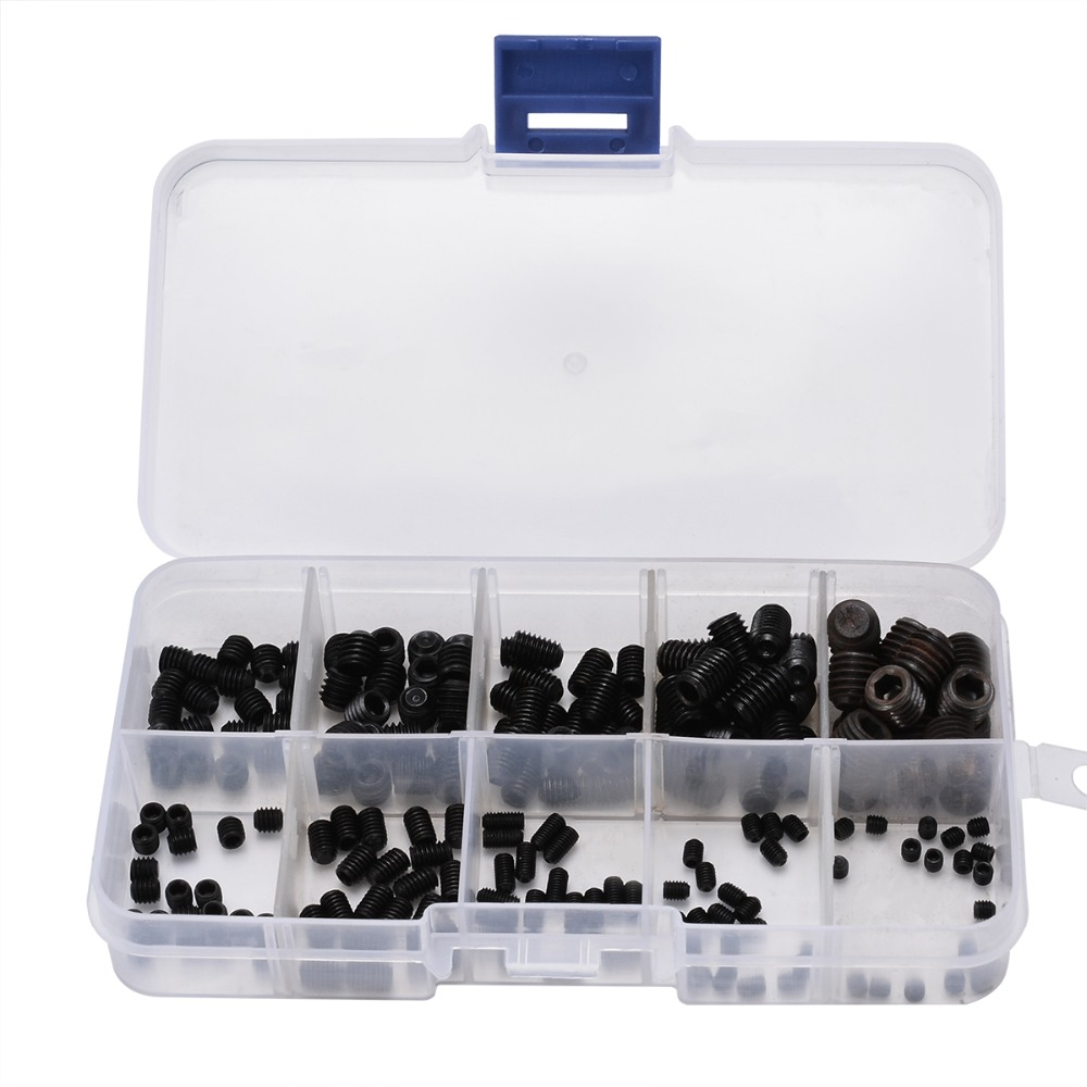 цена на 200pcs Black Allen Head Socket Hex Set Grub Screws Cup Point Assortment Kit with Box For Home Tools
