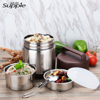 1600ML Lunch Pail Food Container Stainless Steel Lunch Box With Dinnerware Vacuum Insulated Thermo Soup Bento