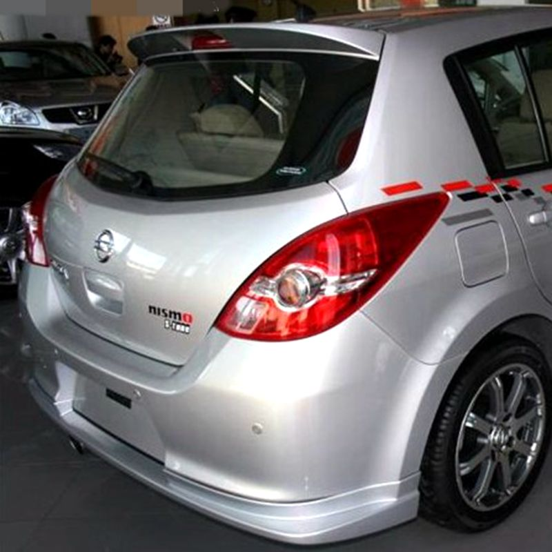 For Nissan Tiida Spoiler High Quality ABS Material Car Rear Wing Unpaint Color Rear Spoiler For Nissan Tiida Spoiler 2006 2010