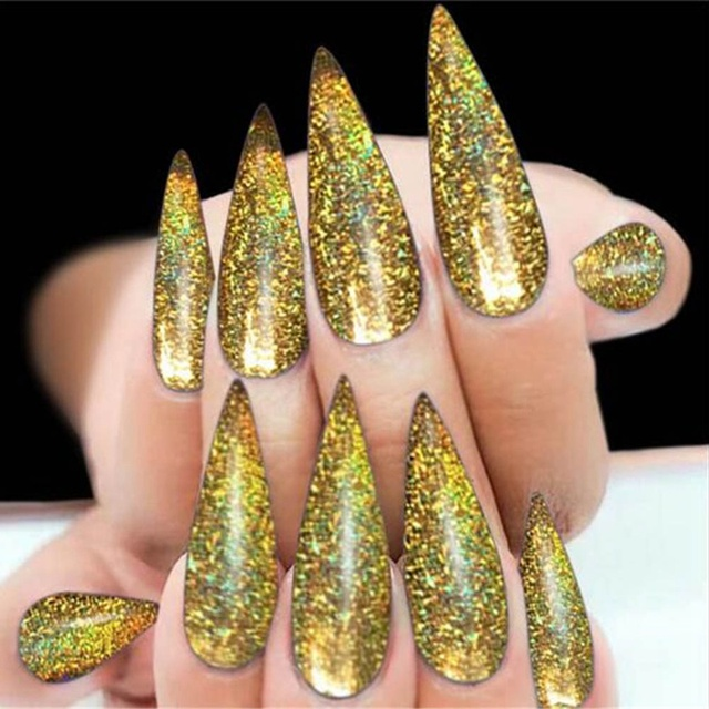 Small Glitter Dust Laser Holographic Gold Silver Black Nails Tips