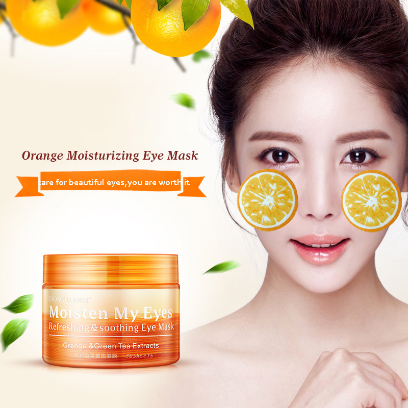 BIOAQUA Orange Vitamin C Essence Eye Mask Dark Circle Remove Patches for the Eyes Moisturizing Eye Masks Anti-wrinkle Anti-aging