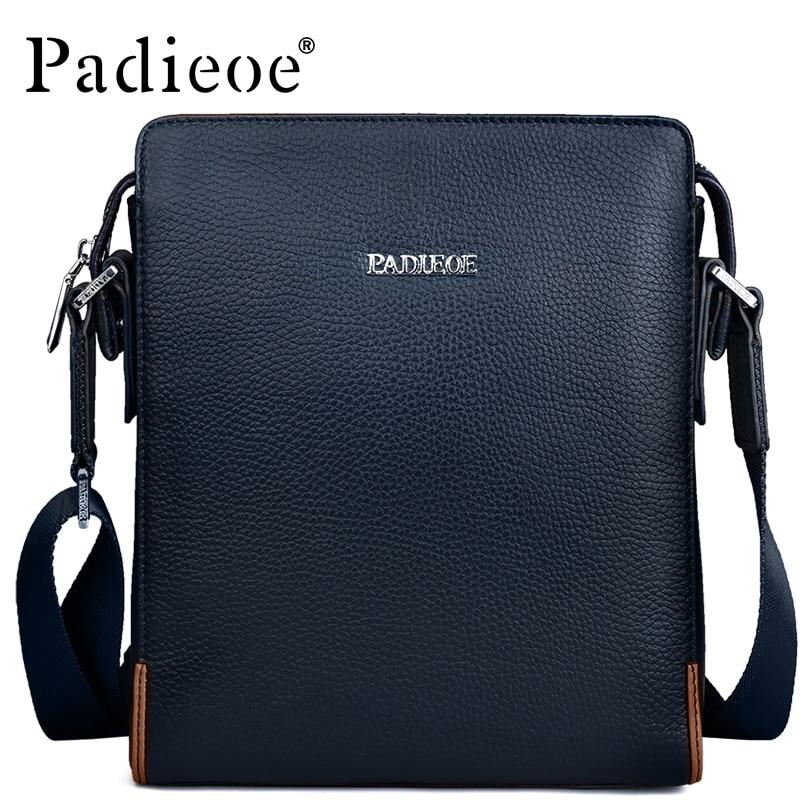 PADIEOE 2017 Brand 100% Genuine Leather Crossbody Bag Business Handbag Shoulder Briefcase Bags Men Leather Messenger Bag Male