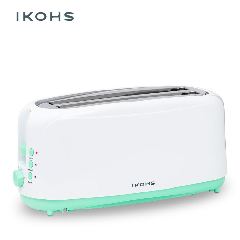IKOHS Best Toast XL Automatic Toaster Two Slots 1000W Stainless Steel Plastic Breakfast Bread Eel Reheating Defrosting