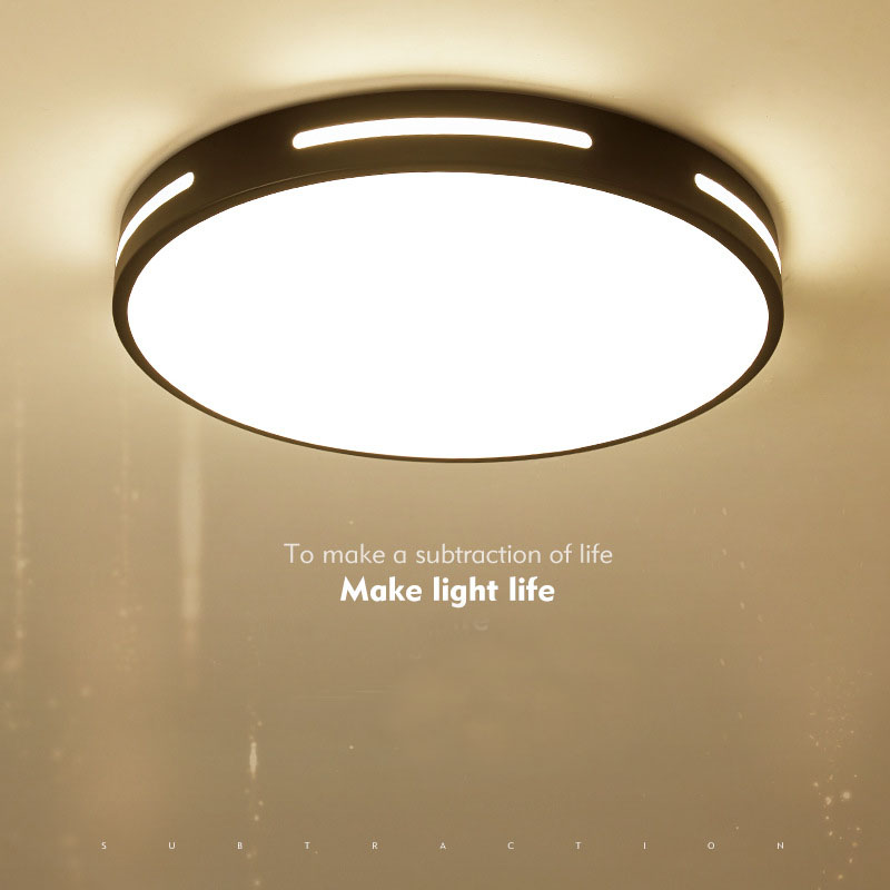 LED modern White & Black color ceiling lightsLED acrylic metal frame round ultra-thin lamp,
