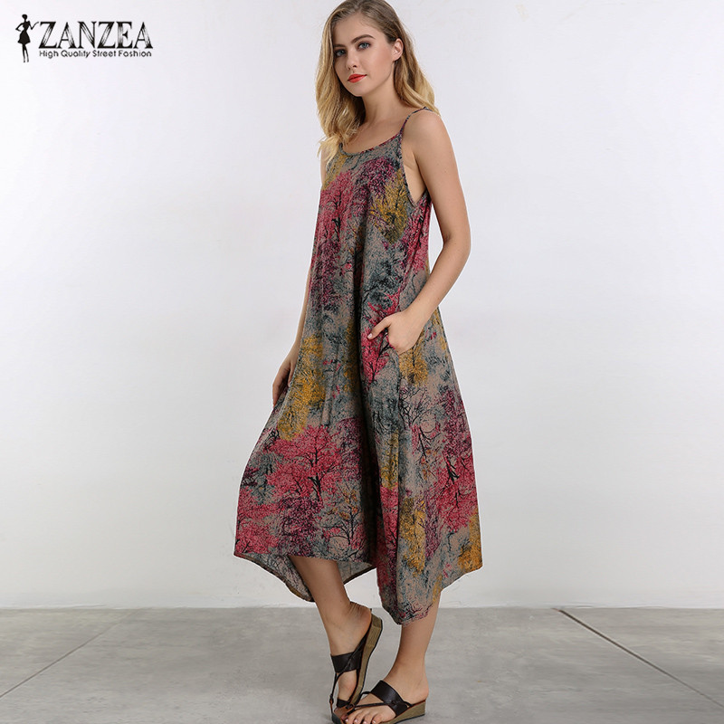 M-5XL ZANZEA Women Sexy Strappy Casual Loose Slip Dress Summer Vintage Floral Print SBeach Party Midi Sundress Vestido Plus Size