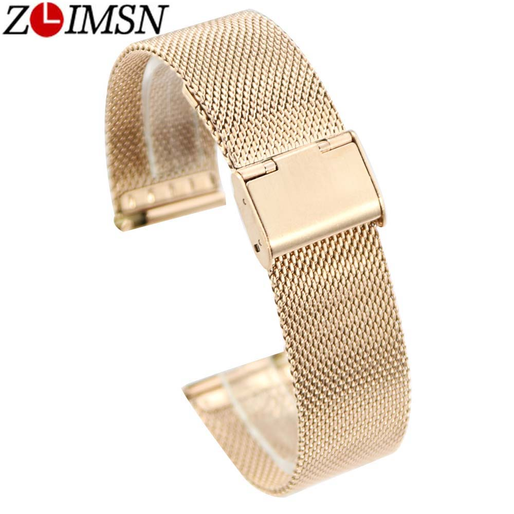 ZLIMSN High Quality Stainless Steel Mesh Watchbands Bracelets Replacement 18 2022mm Silver Black Rose Gold Watch Strap Promotion ysdx 398 fashion stainless steel self stirring mug black silver 2 x aaa