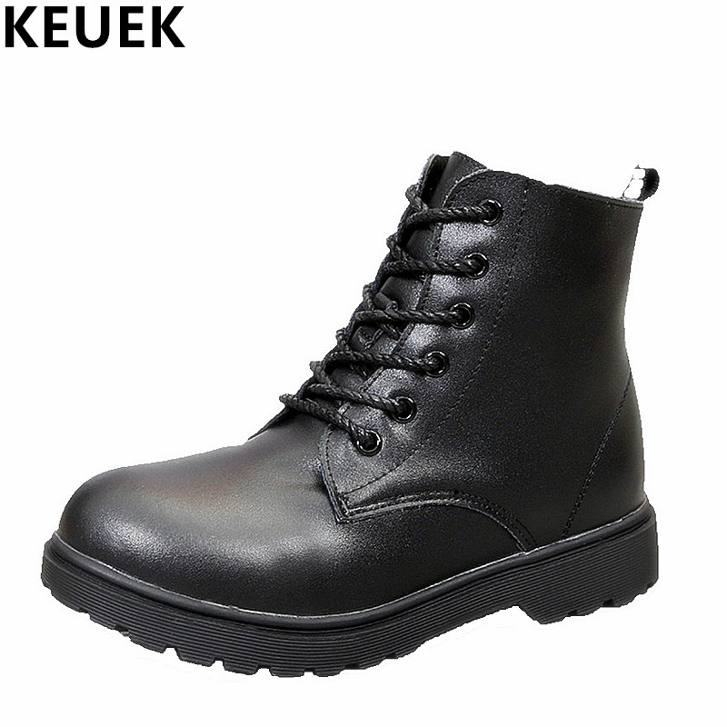 NEW 2017 Autumn Winter Children Genuine leather Martin boots Lace-Up Motorcycle boots Boys Girls shoes Kids Snow boots 03B new 2015 botas infantil pu leather boys girls rubber boots for children martin boots kids snow boots sneakers hot item