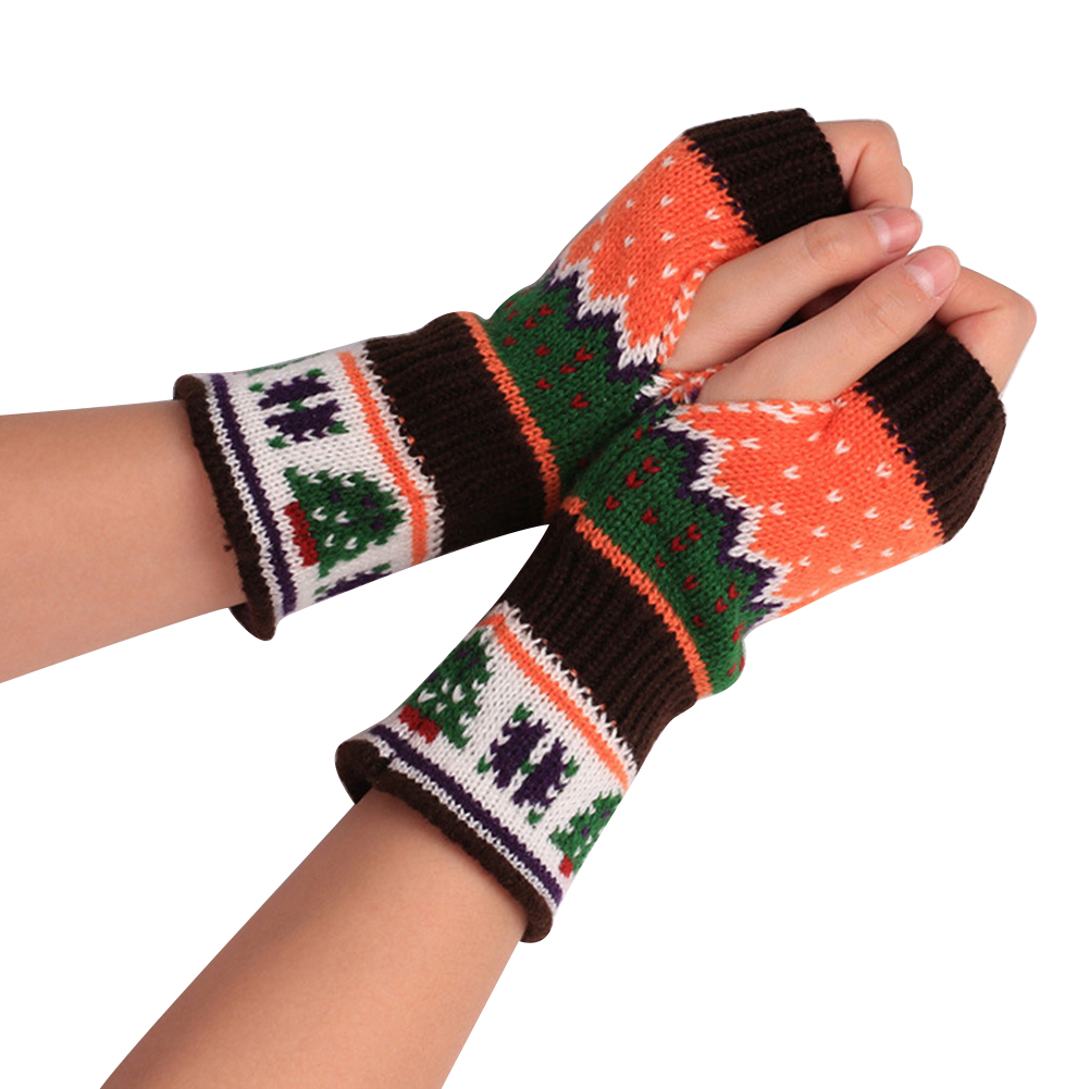 Image Christmas Tree Woolen Yarn Winter Warm Half Mitten Women Fingerless Gloves