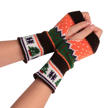 Christmas Tree Woolen Yarn Winter Warm Half Mitten Women Fingerless Gloves