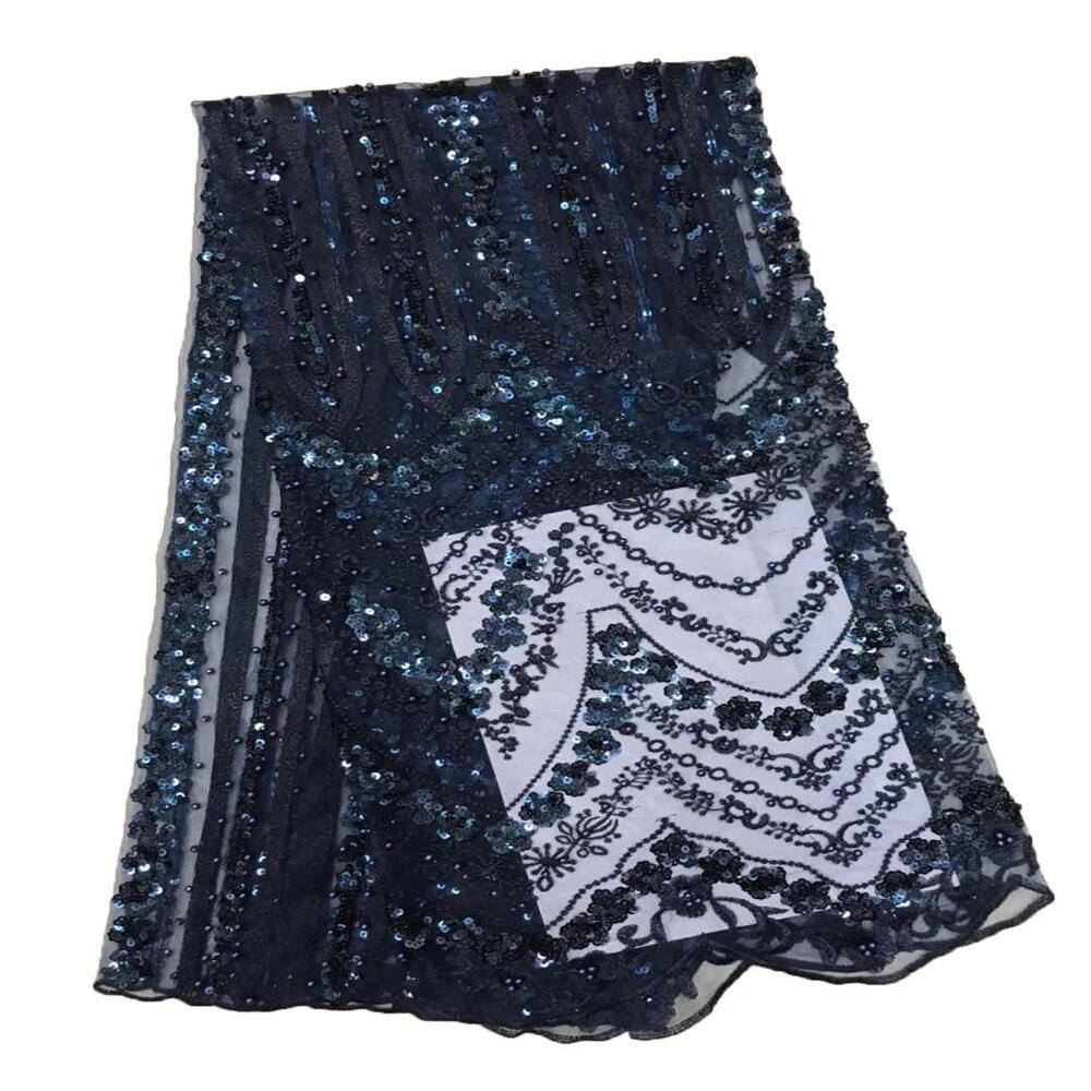 Wysokiej jakości niebieski royal afryki francuski koronki tkaniny cekiny tulle koronki tkaniny 2019 ostatnie przyjazd hot sprzedaż 5 metrów do sukienka F661 w Koronka od Dom i ogród na  Grupa 1