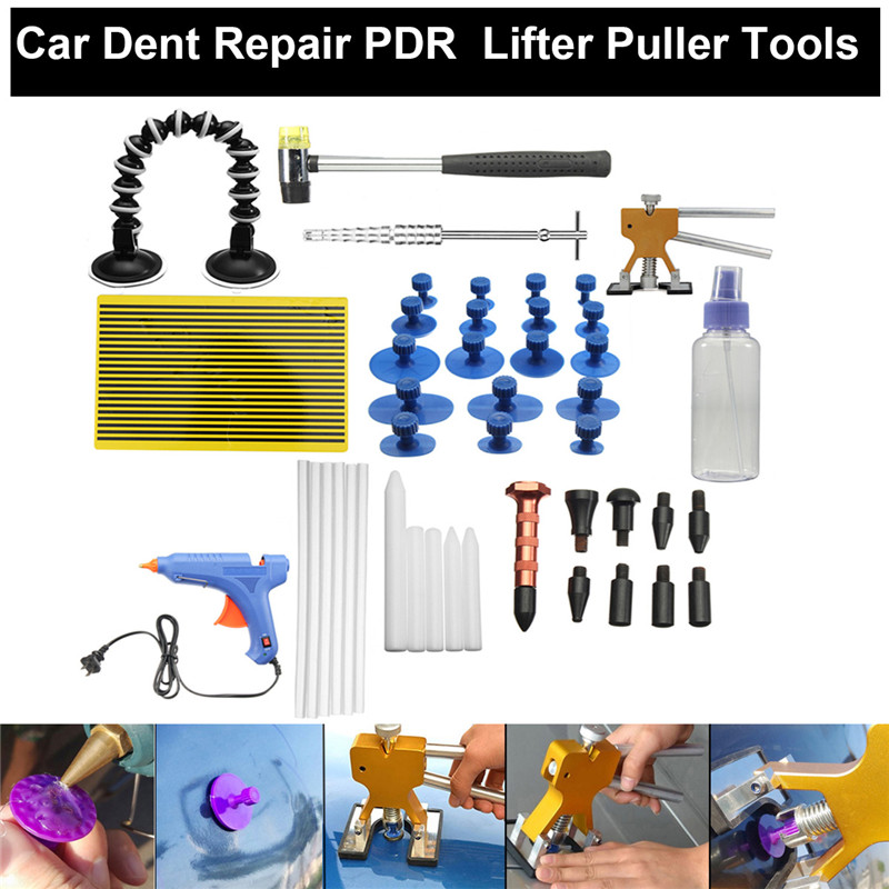 New 51Pcs PDR Tools Dent Puller Glue Tabs Puller Paintless Dent Removal Repair Tool for Car Repair with Glue-gun Hand Tools Set pdr tools to remove dents car dent repair paintelss dent removal puller kit lifter removal glue tabs fungi sucker hand tool set