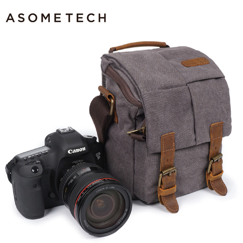 ASOMETECH Professional DSLR Canvas Camera Bag Travel Photo Bag Single Shoulder Backpack for Sony Canon Nikon Olympus