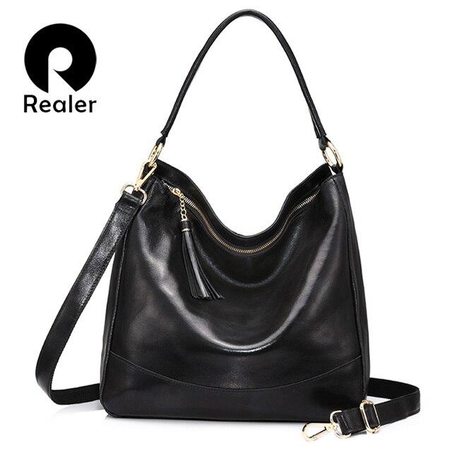 REALER мягкая женская сумка хобо из натуральной кожи большого объёма с кисточкой, кожаная сумка на плечо для женщин