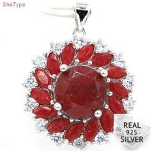 SheType 6.09g Real Ruby Natural CZ Gift For Sister 925 Solid Sterling Silver Pendant 29x22mm