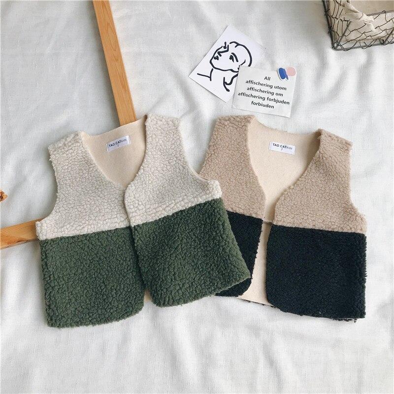 726ef68d3 WLG niños niñas chalecos de retazos informales niños Otoño Invierno chaleco  de lana moda de ...
