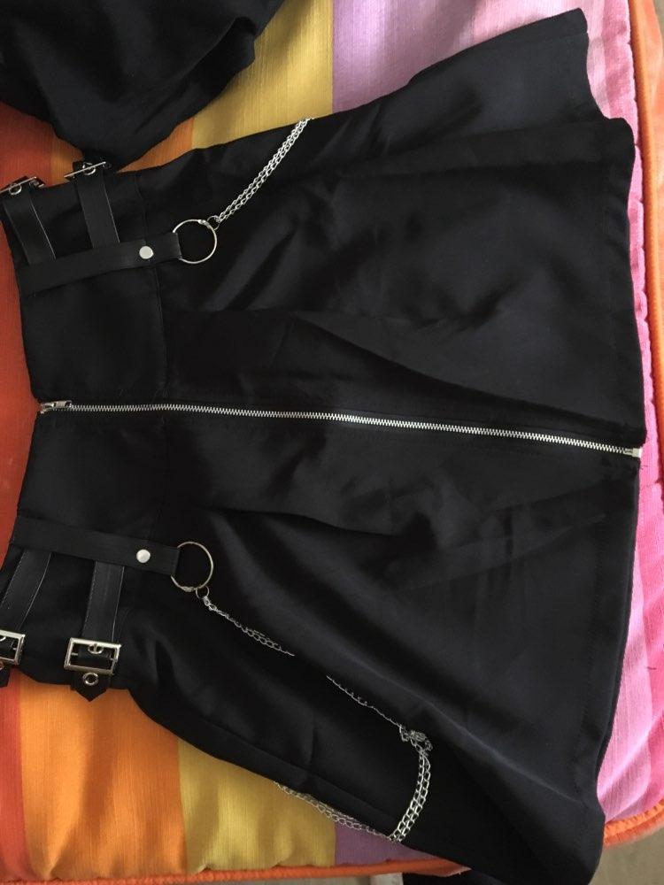 Gothic Rock Chain Mini Skirt Sexy Autumn Soft Buckle Zipper Women'S Skirt photo review