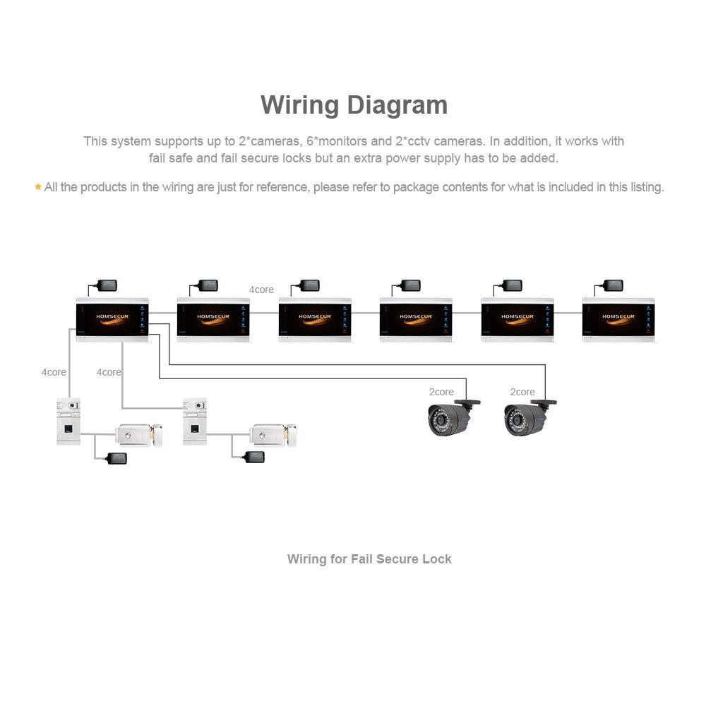 Buy Homsecur Ahd13mp 7 Wired Videoaudio Smart Doorbells In Parallel Wiring Diagrams Doorbell Fingerprint Camera Electric Lock For House Flatbm705hd B Bc061hd S From