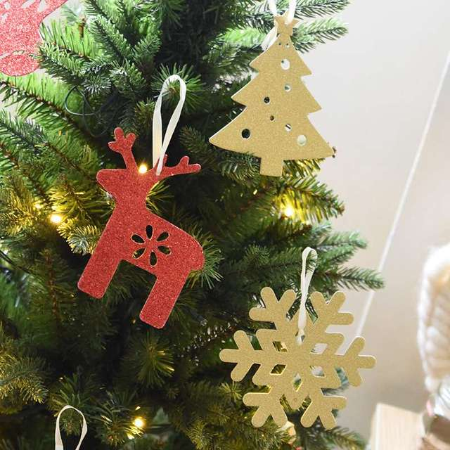 hoomall 6pcs mixed reindeer snowflake paper christmas ornaments for home decorations for christmas tree navidad party - Paper Christmas Tree Decorations