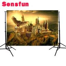 Виниловый фон для фотостудии Sensfun, фон для фотосъемки заката, Хогвартс, школьная сова, лысина, горы, 7x5ft