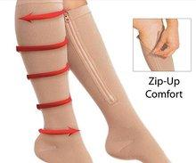 Дэвид Энджи Для женщин мужчин молния сжатия Носки для девочек тонкие ноги сжигать жир ногу Поддержка колена Сокс открытым носком носки телесного цвета, best качество, 1Y48451