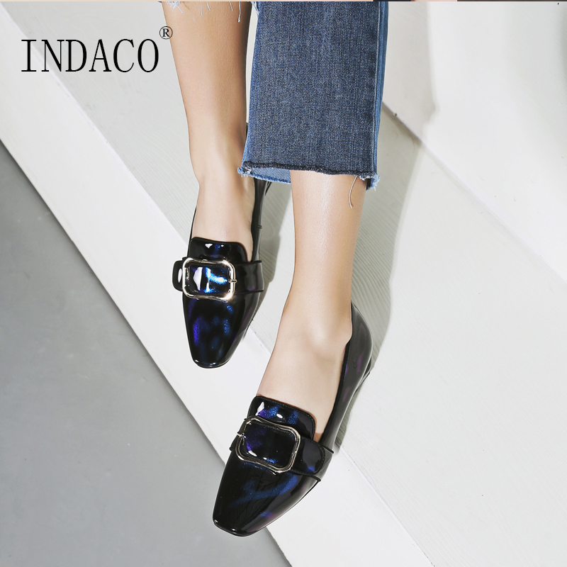 2019 여성 가죽 플랫 신발 봄 패션로 퍼 2.5 cm 큰 크기 34 42-에서여성용 플랫부터 신발 의  그룹 1