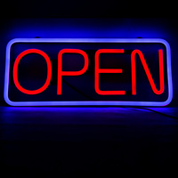 China made DC12V High brightness LED neon open sign with 2 metal hooks & 0.6m chain