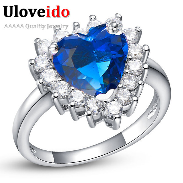 Women's Heart Wedding Jewelry Big Rings for Women Silver Color CZ Zircon Engagement Ring Crystal Love Zircon 2016 15% off J461