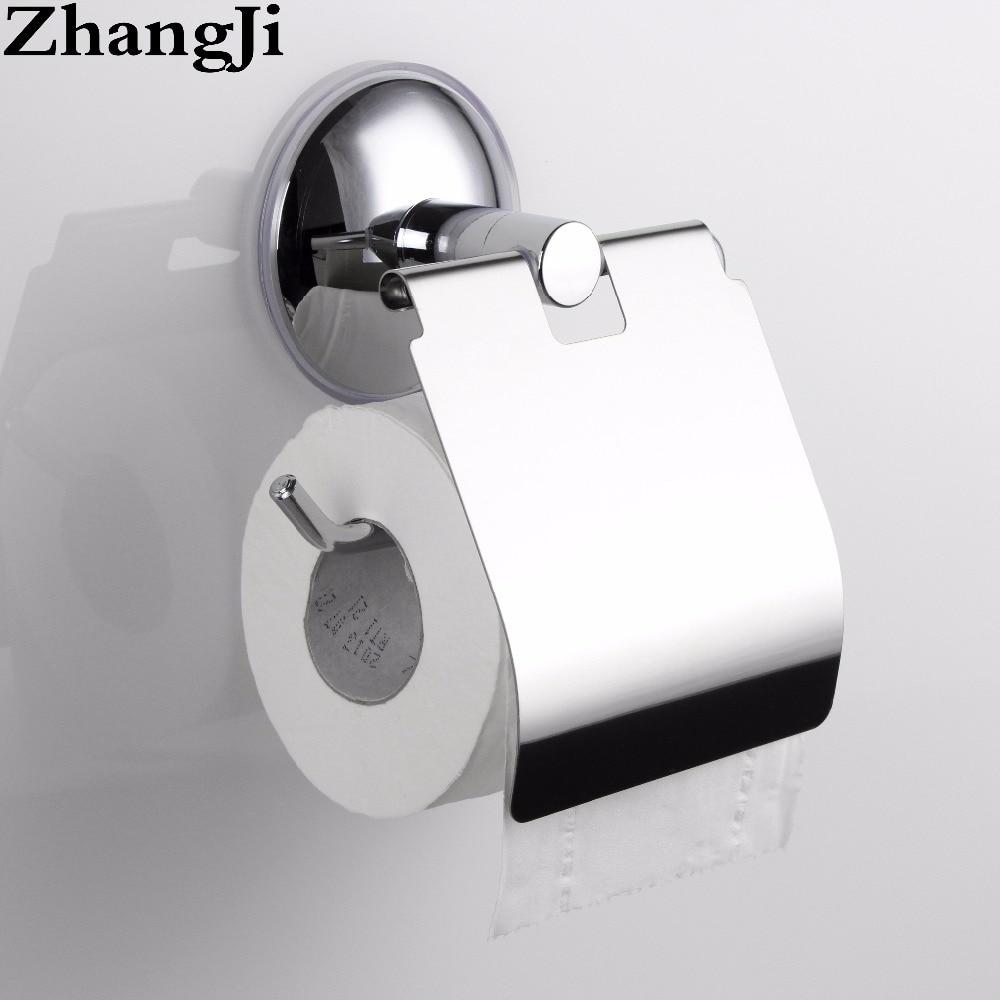 ZhangJi accesorios de baño titular de papel ventosa Acero inoxidable estante de papel higiénico de pared