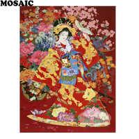 5d diamond painting, japanese geisha rhinestones,painting rhinestones,5d diamond mosaic,square diamond,home Decoration B200